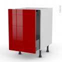 STECIA Rouge - Meuble bas coulissant  - 1 porte -1 tiroir anglaise - L50xH70xP58