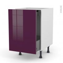 Meuble de cuisine - Bas coulissant - KERIA Aubergine - 1 porte 1 tiroir à l'anglaise - L50 x H70 x P58 cm