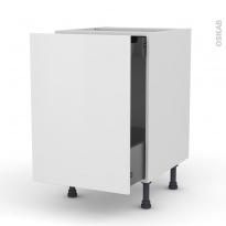 Meuble de cuisine - Bas coulissant - GINKO Blanc - 1 porte 1 tiroir à l'anglaise - L50 x H70 x P58 cm