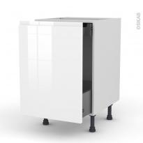 Meuble de cuisine - Bas coulissant - IPOMA Blanc - 1 porte 1 tiroir à l'anglaise - L50 x H70 x P58 cm