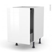 IRIS Blanc - Meuble bas coulissant  - 1 porte-1 tiroir anglaise - L50xH70xP58