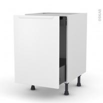 Meuble de cuisine - Bas coulissant - PIMA Blanc - 1 porte 1 tiroir à l'anglaise - L50 x H70 x P58 cm