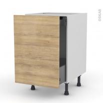 Meuble de cuisine - Bas coulissant - HOSTA Chêne naturel - 1 porte 1 tiroir à l'anglaise - L50 x H70 x P58 cm