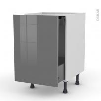 Meuble de cuisine - Bas coulissant - STECIA Gris - 1 porte 1 tiroir à l'anglaise - L50 x H70 x P58 cm