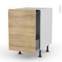 Meuble de cuisine - Bas coulissant - IPOMA Chêne naturel - 1 porte 1 tiroir à l'anglaise - L50 x H70 x P58 cm