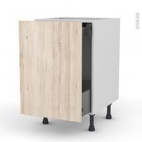 IKORO Chêne clair - Meuble bas coulissant  - 1 porte -1 tiroir anglaise - L50xH70xP58