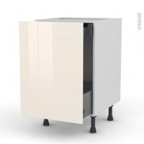 Meuble de cuisine - Bas coulissant - KERIA Ivoire - 1 porte 1 tiroir à l'anglaise - L50 x H70 x P58 cm