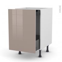 Meuble de cuisine - Bas coulissant - KERIA Moka - 1 porte 1 tiroir à l'anglaise - L50 x H70 x P58 cm