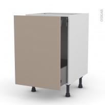 Meuble de cuisine - Bas coulissant - GINKO Taupe - 1 porte 1 tiroir à l'anglaise - L50 x H70 x P58 cm