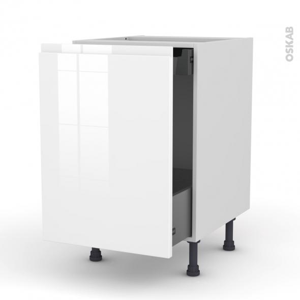 Meuble de cuisine - Bas coulissant - IPOMA Blanc brillant - 1 porte 1 tiroir à l'anglaise - L50 x H70 x P58 cm