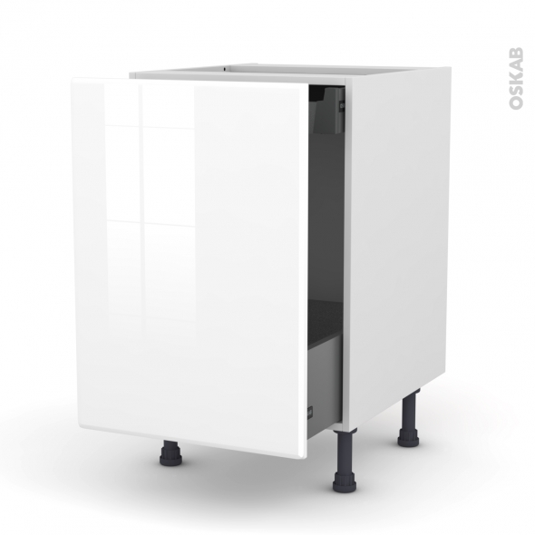Meuble de cuisine - Bas coulissant - IRIS Blanc - 1 porte 1 tiroir à l'anglaise - L50 x H70 x P58 cm