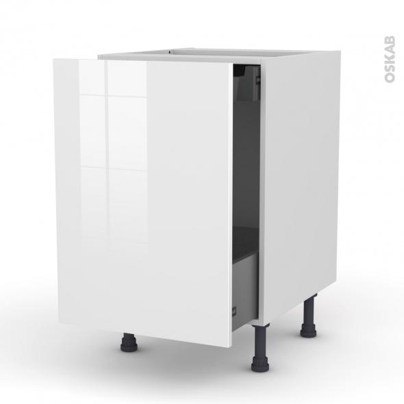 STECIA Blanc - Meuble bas coulissant  - 1 porte-1 tiroir anglaise - L50xH70xP58
