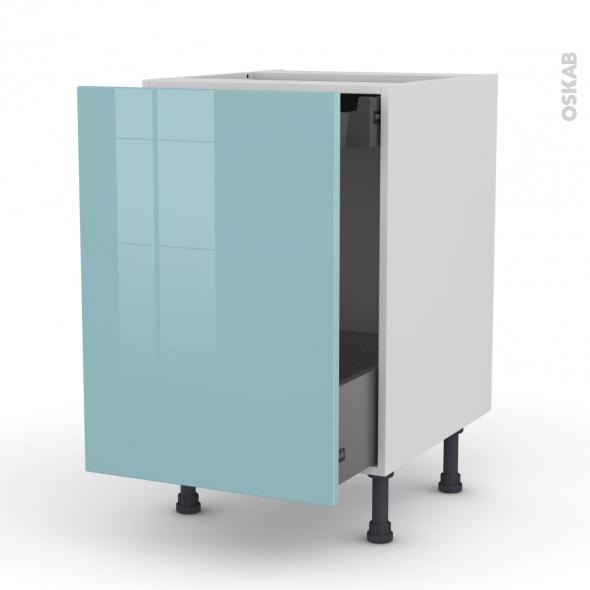 Meuble de cuisine - Bas coulissant - KERIA Bleu - 1 porte 1 tiroir à l'anglaise - L50 x H70 x P58 cm
