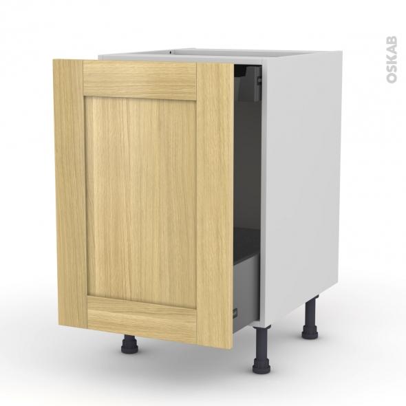 BASILIT Bois Brut - Meuble bas coulissant  - 1 porte -1 tiroir anglaise - L50xH70xP58