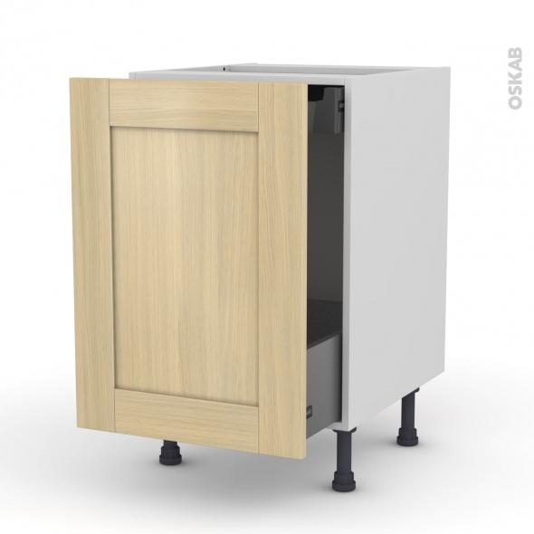 BASILIT Bois Vernis - Meuble bas coulissant  - 1 porte -1 tiroir anglaise - L50xH70xP58