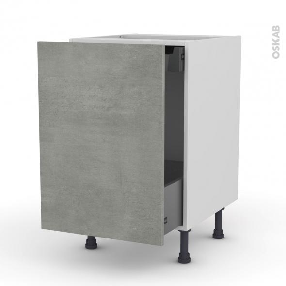 Meuble de cuisine - Bas coulissant - FAKTO Béton - 1 porte 1 tiroir à l'anglaise - L50 x H70 x P58 cm