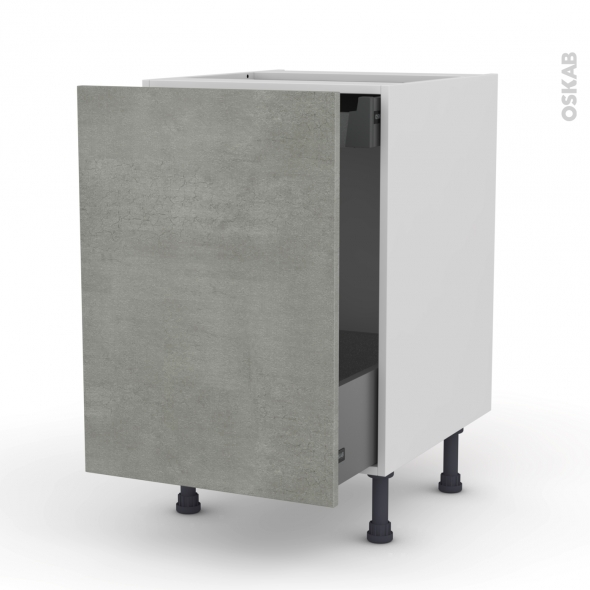 FAKTO Béton - Meuble bas coulissant  - 1 porte -1 tiroir anglaise - L50xH70xP58