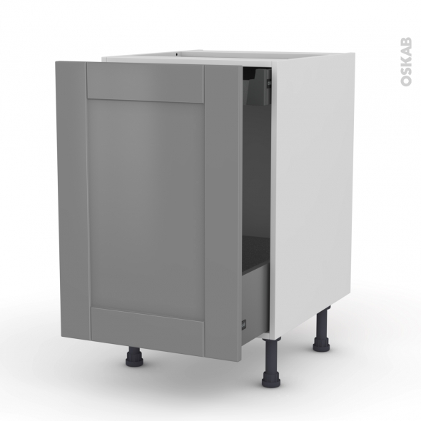 Meuble de cuisine - Bas coulissant - FILIPEN Gris - 1 porte 1 tiroir à l'anglaise - L50 x H70 x P58 cm