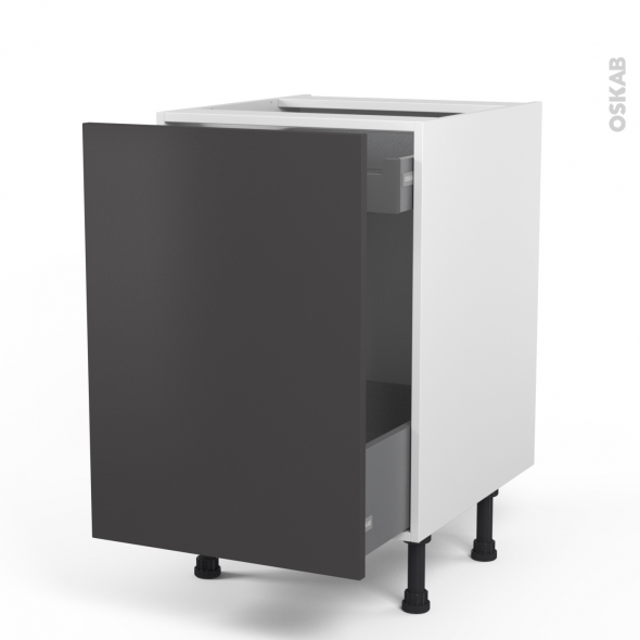Meuble de cuisine - Bas coulissant - GINKO Gris - 1 porte 1 tiroir à l'anglaise - L50 x H70 x P58 cm
