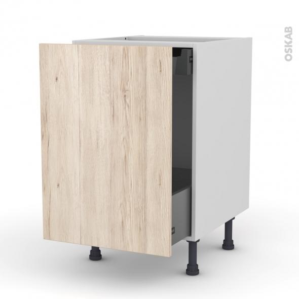 Meuble de cuisine - Bas coulissant - IKORO Chêne clair - 1 porte 1 tiroir à l'anglaise - L50 x H70 x P58 cm