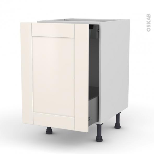 Meuble de cuisine - Bas coulissant - FILIPEN Ivoire - 1 porte 1 tiroir à l'anglaise - L50 x H70 x P58 cm