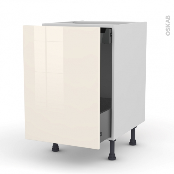 KERIA Ivoire - Meuble bas coulissant  - 1 porte -1 tiroir anglaise - L50xH70xP58