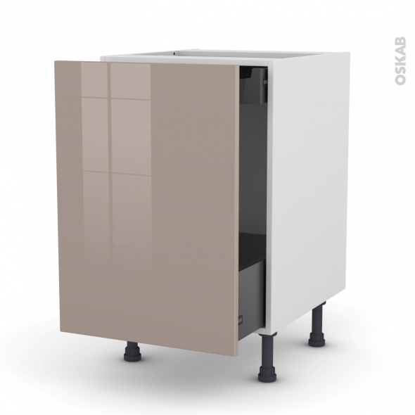 KERIA Moka - Meuble bas coulissant  - 1 porte -1 tiroir anglaise - L50xH70xP58