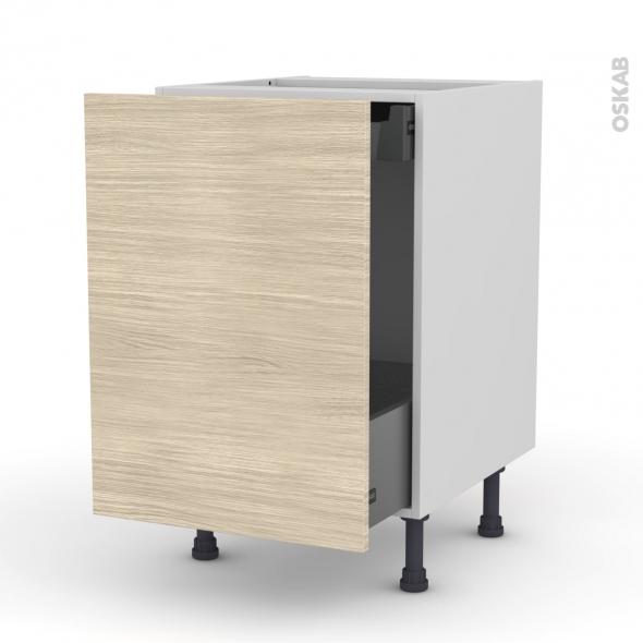 Meuble de cuisine - Bas coulissant - STILO Noyer Blanchi - 1 porte 1 tiroir à l'anglaise - L50 x H70 x P58 cm
