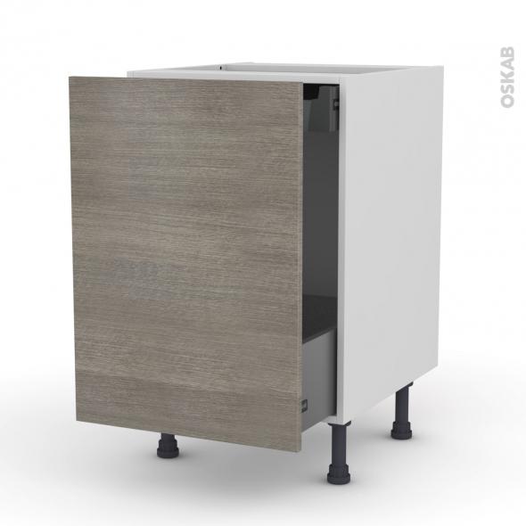 Meuble de cuisine - Bas coulissant - STILO Noyer Naturel - 1 porte 1 tiroir à l'anglaise - L50 x H70 x P58 cm