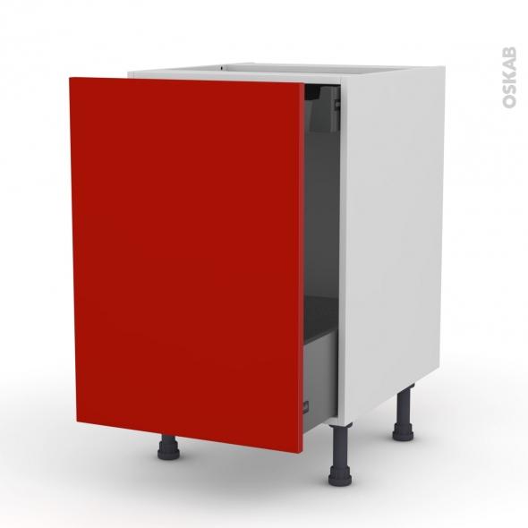 GINKO Rouge - Meuble bas coulissant  - 1 porte-1 tiroir anglaise - L50xH70xP58