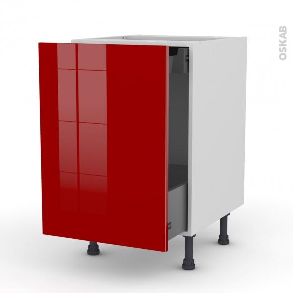 Meuble de cuisine - Bas coulissant - STECIA Rouge - 1 porte 1 tiroir à l'anglaise - L50 x H70 x P58 cm