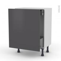 Meuble de cuisine - Bas coulissant - GINKO Gris - 1 porte 1 tiroir à l'anglaise - L60 x H70 x P37 cm