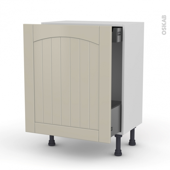SILEN Argile - Meuble bas coulissant - 1 porte-1 tiroir anglaise - L60xH70xP37