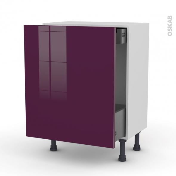 KERIA Aubergine - Meuble bas coulissant - 1 porte-1 tiroir anglaise - L60xH70xP37