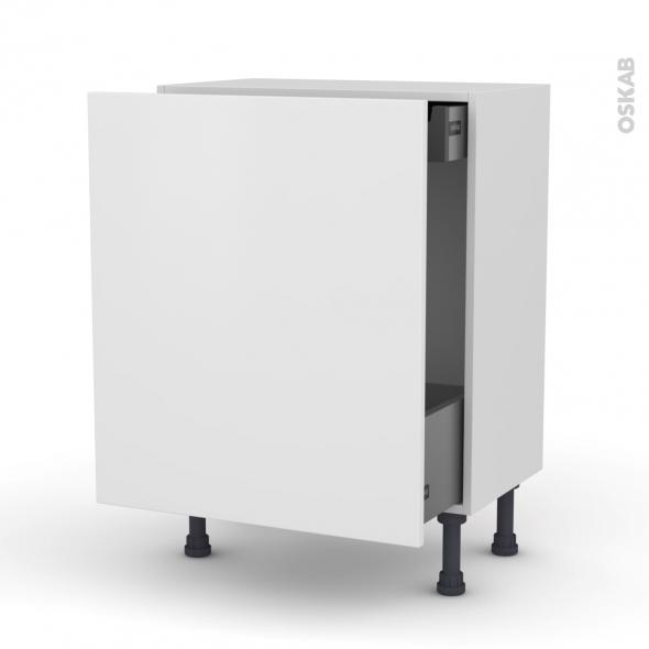 Meuble de cuisine - Bas coulissant - GINKO Blanc - 1 porte 1 tiroir à l'anglaise - L60 x H70 x P37 cm