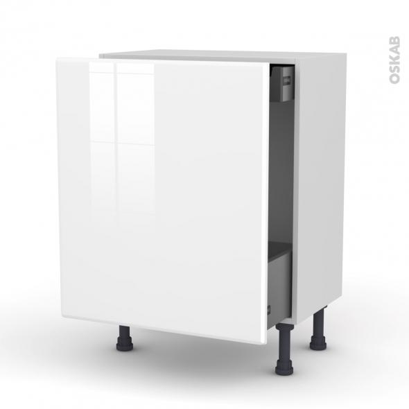 IRIS Blanc - Meuble bas coulissant - 1 porte-1 tiroir anglaise - L60xH70xP37