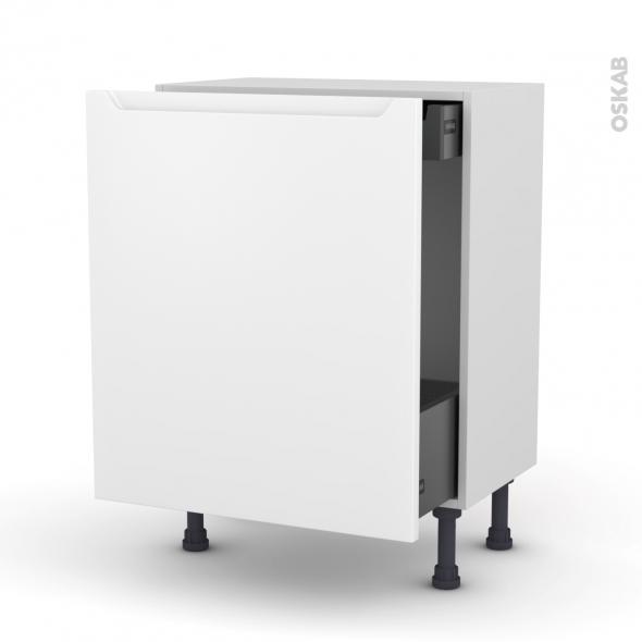 Meuble de cuisine - Bas coulissant - PIMA Blanc - 1 porte 1 tiroir à l'anglaise - L60 x H70 x P37 cm