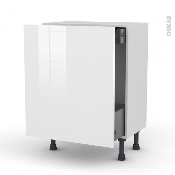 STECIA Blanc - Meuble bas coulissant - 1 porte-1 tiroir anglaise - L60xH70xP37