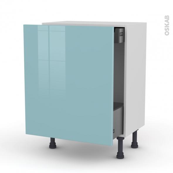 Meuble de cuisine - Bas coulissant - KERIA Bleu - 1 porte 1 tiroir à l'anglaise - L60 x H70 x P37 cm