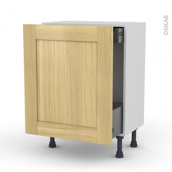 BASILIT Bois brut - Meuble bas coulissant - 1 porte-1 tiroir anglaise - L60xH70xP37