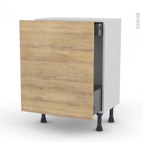 HOSTA Chêne naturel - Meuble bas coulissant - 1 porte-1 tiroir anglaise - L60xH70xP37