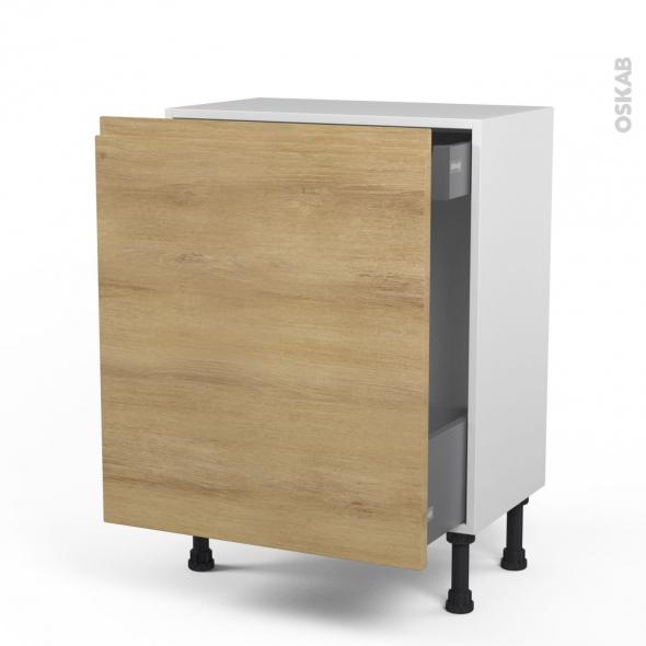 Meuble de cuisine - Bas coulissant - IPOMA Chêne naturel - 1 porte 1 tiroir à l'anglaise - L60 x H70 x P37 cm