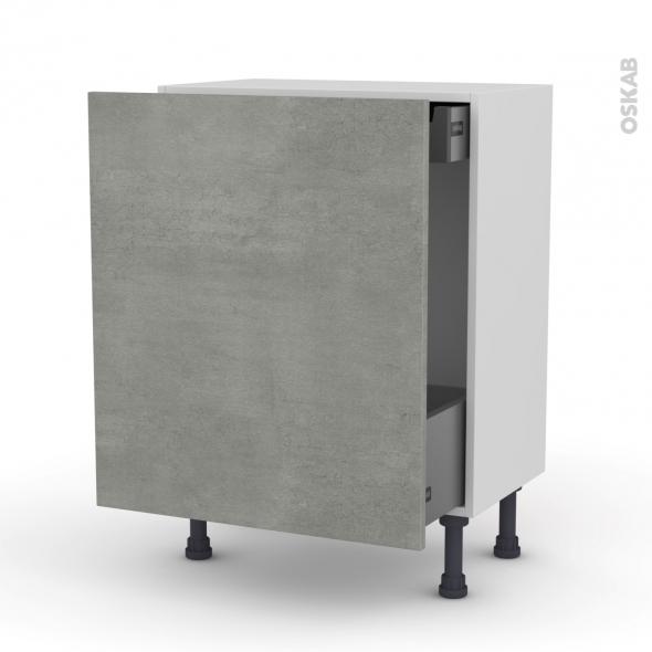 FAKTO Béton - Meuble bas coulissant - 1 porte-1 tiroir anglaise - L60xH70xP37