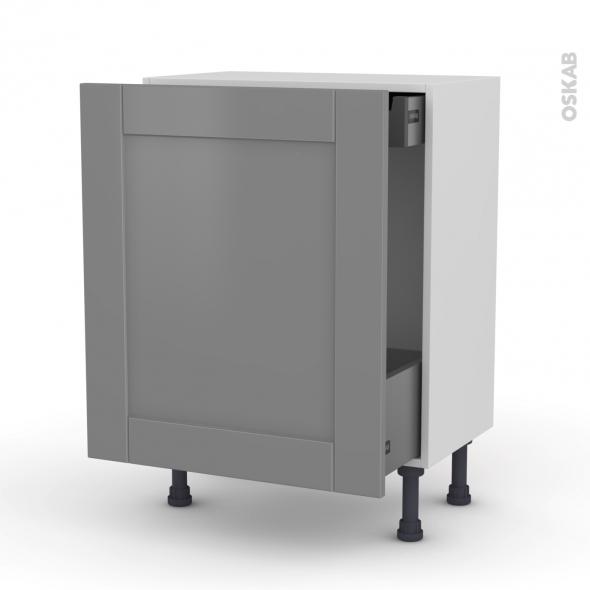 Meuble de cuisine - Bas coulissant - FILIPEN Gris - 1 porte 1 tiroir à l'anglaise - L60 x H70 x P37 cm