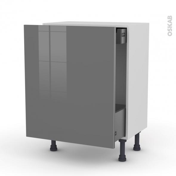 Meuble de cuisine - Bas coulissant - STECIA Gris - 1 porte 1 tiroir à l'anglaise - L60 x H70 x P37 cm
