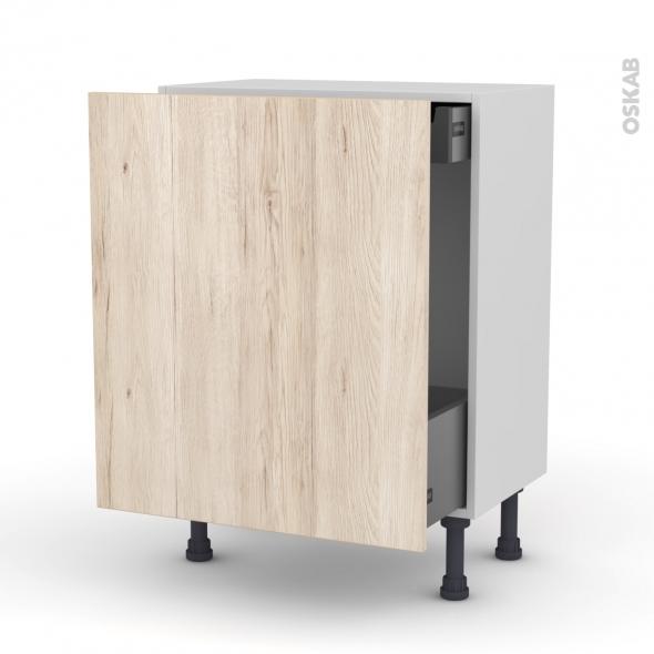Meuble de cuisine - Bas coulissant - IKORO Chêne clair - 1 porte 1 tiroir à l'anglaise - L60 x H70 x P37 cm