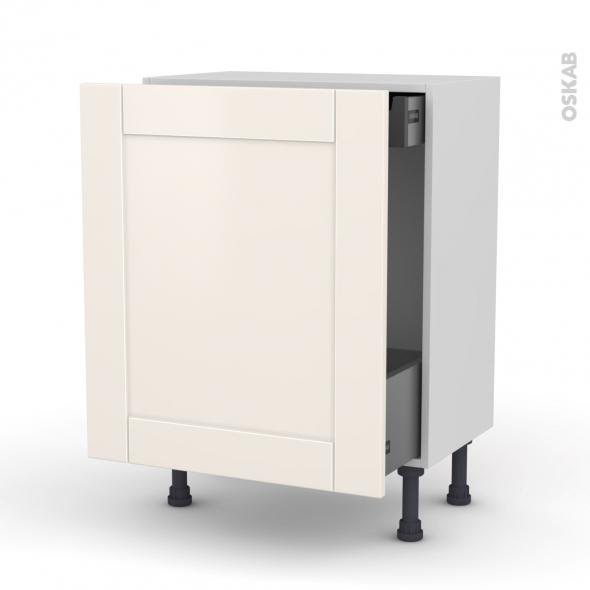 Meuble de cuisine - Bas coulissant - FILIPEN Ivoire - 1 porte 1 tiroir à l'anglaise - L60 x H70 x P37 cm