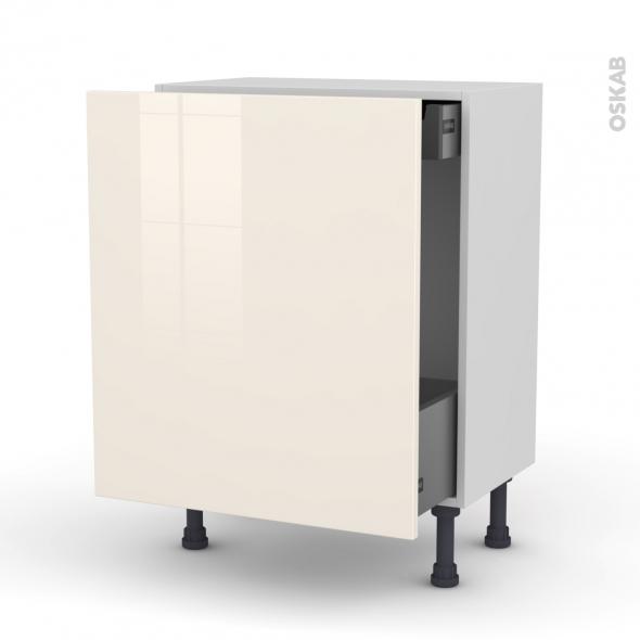 Meuble de cuisine - Bas coulissant - KERIA Ivoire - 1 porte 1 tiroir à l'anglaise - L60 x H70 x P37 cm