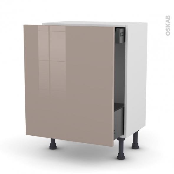 KERIA Moka - Meuble bas coulissant - 1 porte-1 tiroir anglaise - L60xH70xP37