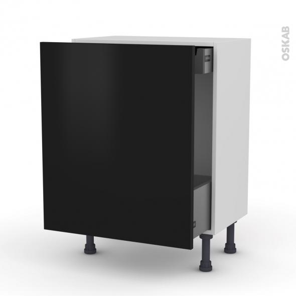 Meuble de cuisine - Bas coulissant - GINKO Noir - 1 porte 1 tiroir à l'anglaise - L60 x H70 x P37 cm